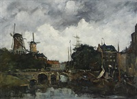 dutch canal scene by frans langeveld