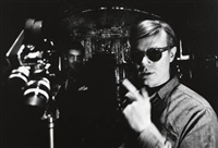irving blum and andy warhol filming, new york city by dennis hopper