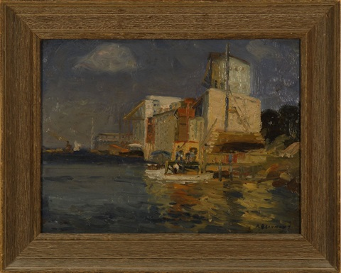 harbor scene and unfinished landscape verso by arthur j beaumont