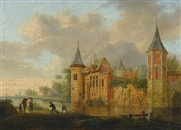 a river landscape with a castle and peasants fishing in the foreground (2 works) by johannes huibert (hendric) prins