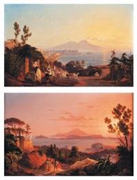 vues d'italie naples du posilip (+ le golfe de baja, lrgr; pair) by carl (karl) wilhelm götzloff