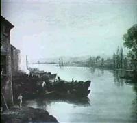 barques sur une riviere au coucher du soleil by isidore dagnan