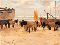 bomschuiten op het katwijkse strand by willy sluijter
