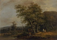 waldlandschaft mit rastendem bauern, im hintergrund ein dorf by jakob manskirch