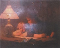 woman and child reading by lamplight by etienne azambre
