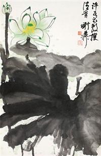 绿荷图 立轴 设色纸本 by xie zhiliu