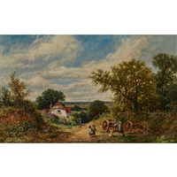 LANDSCAPE IN SUSSEX WITH FARM WAGON