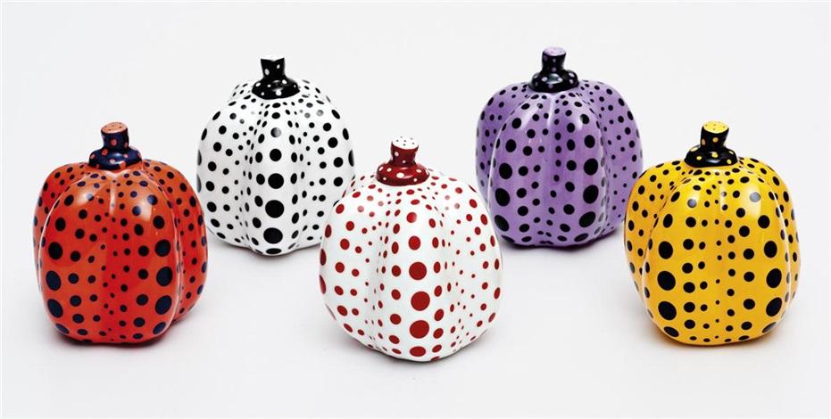 pumpkins set set of 5 by yayoi kusama