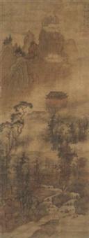 herbstlandschaft mit kleinem fluß, gebäuden, die aus dem nebel herausragen, und einem hohen bergmassiv im hintergrund by liu du