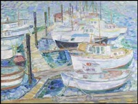 boats at a wharf, no. 3 by irene hoffar reid