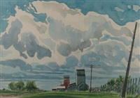 active skies, grain elevators by robert newton hurley