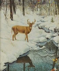 buck by the stream in winter by robert doares