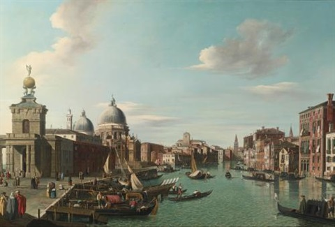 venice the entrance to the grand canal looking west by canaletto