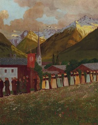 prozession in maria alm by karl reisenbichler
