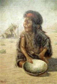 portrait of a crying native american child holding an empty bowl and spoon by gregory perillo