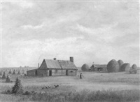 long island farm scene with figures by charles lanman