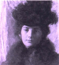 portrait of a lady with a hat by hugo böttinger