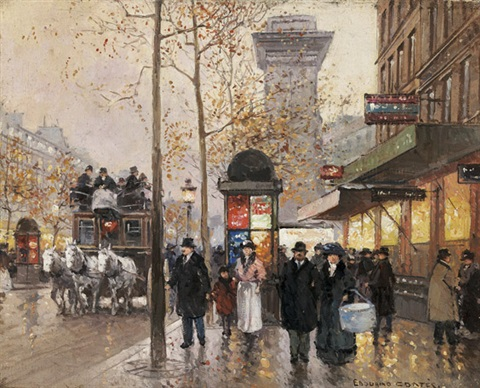 figures in a busy autumn parisian street scene with horse drawn carriages by edouard léon cortès