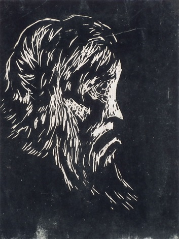 head of a bearded man and a macabre head 2 works by emil nolde