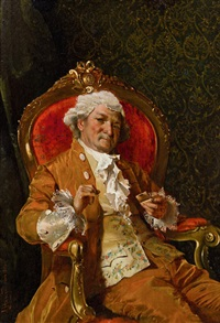 eleganter herr im lehnstuhl by johann hamza
