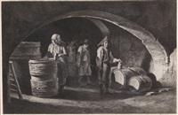 einblick in die werkstatt der fassbinder (+ familie in der küche vor dem herdfeuer; 2 works) by jean-jacques de boissieu