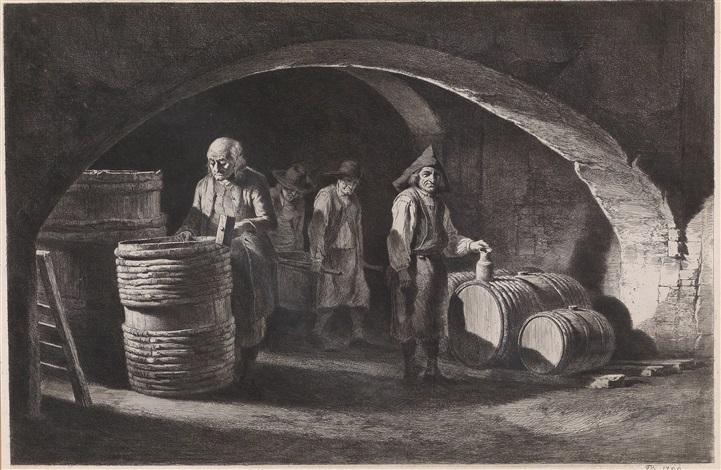 einblick in die werkstatt der fassbinder familie in der küche vor dem herdfeuer 2 works by jean jacques de boissieu