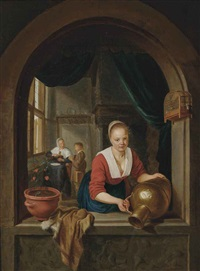 a lady at a casement by gerrit dou