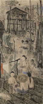 women at the village by cheong soo pieng