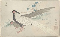 silver peasants and quail (2 works from kaihaku raikin zui (a compendium of pictures of birds imported from overseas) (oban yoko-e) by kitao masayoshi