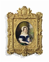 marie-caroline (1798-1870) duchesse de berry, née princess caroline of naples and sicily, seated on fur-bordered green drape, in royal blue velvet dress with ermine-trimmed sleeves by hippolyte joseph lequeutre