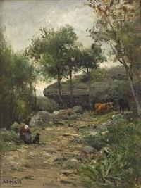 bäuerin mit rindern in waldiger landschaft by louis appian