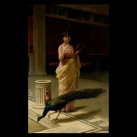 a portrait of a lady with a peacock in a roman interior by giuseppe boschetto