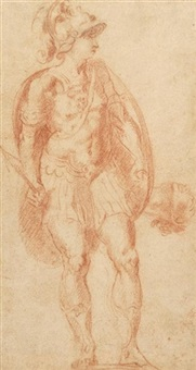 ein römischer soldat (+ studie einer sitzenden figur, verso) by lorenzo sabatini