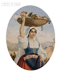 portrait of a woman with sleeping infant in a basket by pietro gabrini