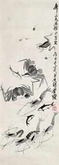 虾蟹图 立轴 水墨纸本 by qi baishi