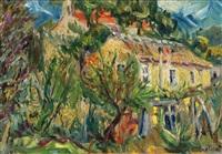 landskap med gult hus by stojan aralica