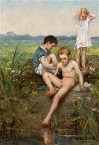 badende kinderen by hendrik johannes haverman