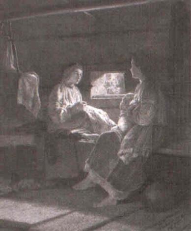 bauerliches interieur mit zwei jungen frauen by mikhail petrovich baron klodt von jurgensburg