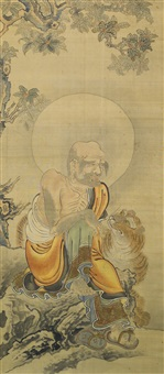a pair of 'luohan' paintings by anonymous-chinese (qing dynasty)