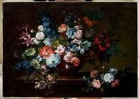 bouquet de lys et autres fleurs dans un vase de porphyre sur un entablement by antoine monnoyer