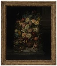 still life with bird nest, spring and summer flowers, by hans zatzka