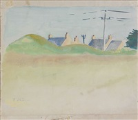 landscape with rooftops by fairfield porter