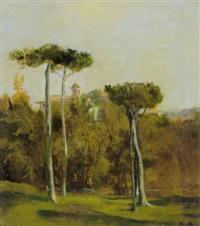 italalienische landschaft mit kloster auf einer anhöhe by vittorio avondo