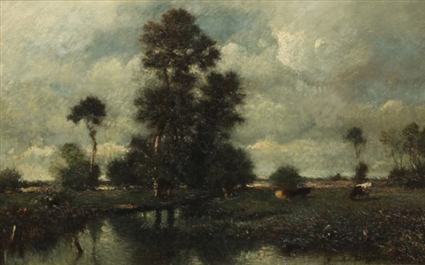cows near large trees by jules dupré