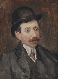 portrait of mr. hecht with a bowler hat by isaac israels