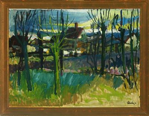 landscape with houses behind trees by svend saabye