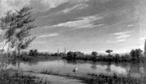 storch am seeufer by jules charles aviat