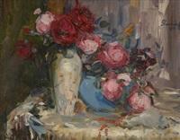 vase fleuri de roses by hubert glansdorff