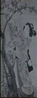 bildnis einer geisha, welche sakura-bluten pfluckt by baigetsu