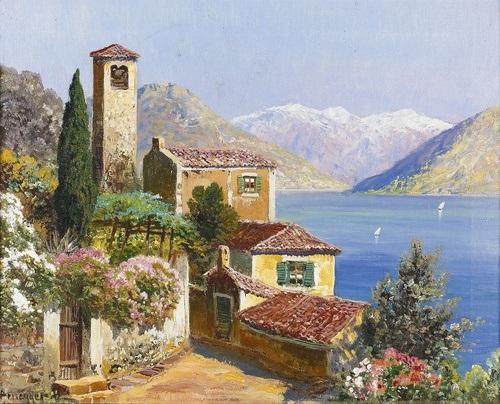 kleines dorf mit kirche oberhalb des lago di lugano by gottfried arnegger